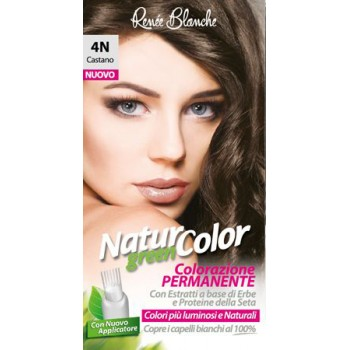 Coloration permanente Natur Green Color 4N Chatain aux extraits d'herbes et protéines de soie