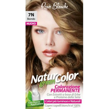 Coloration permanente Natur Green Color 7N Blond aux extraits d'herbes et protéines de soie